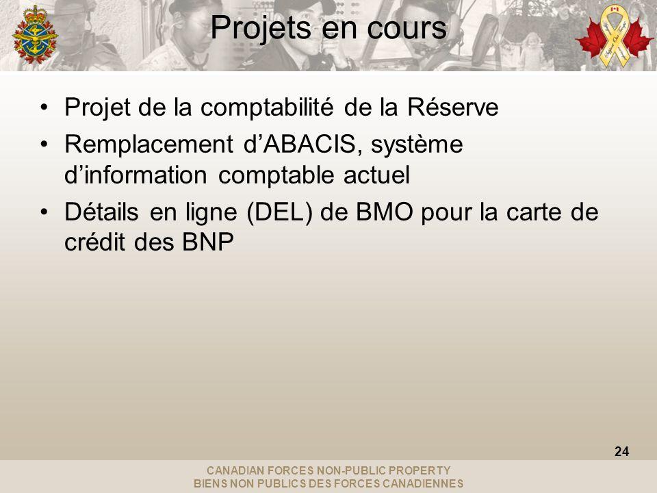 CANADIAN FORCES NON-PUBLIC PROPERTY BIENS NON PUBLICS DES FORCES CANADIENNES Projets en cours Projet de la comptabilité de la Réserve Remplacement dABACIS, système dinformation comptable actuel Détails en ligne (DEL) de BMO pour la carte de crédit des BNP 24