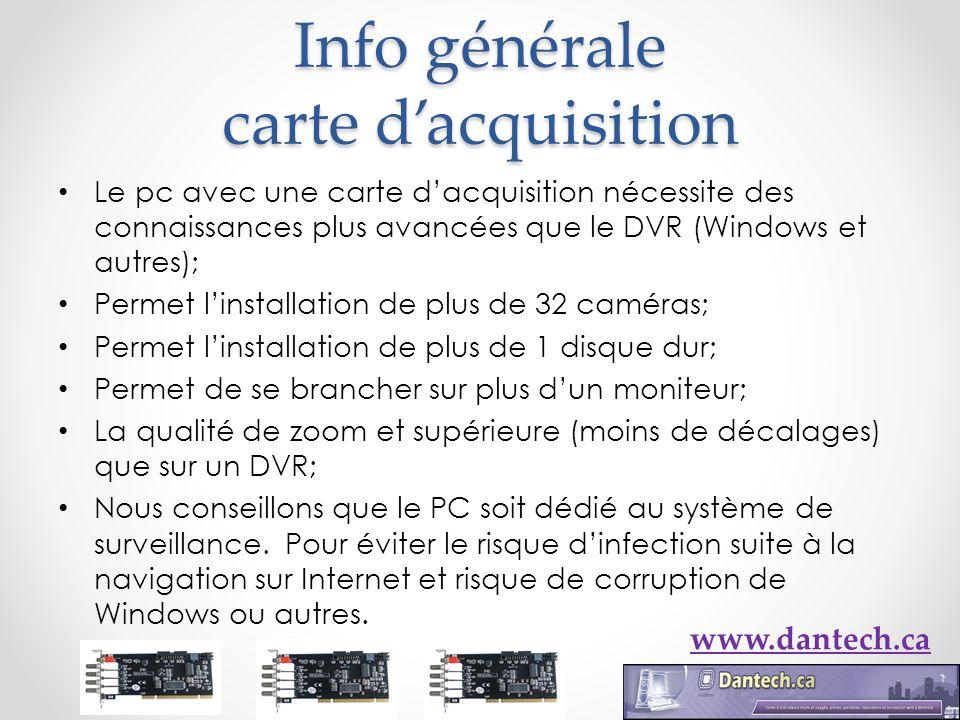 Info générale carte dacquisition Le pc avec une carte dacquisition nécessite des connaissances plus avancées que le DVR (Windows et autres); Permet li