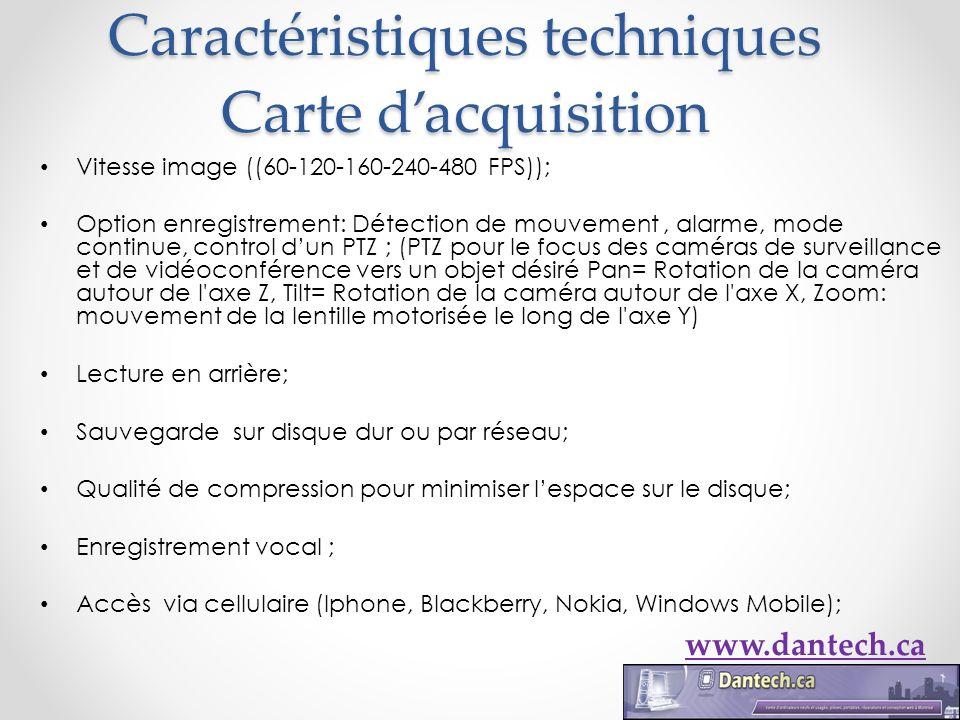 Caractéristiques techniques Carte dacquisition Vitesse image ((60-120-160-240-480 FPS)); Option enregistrement: Détection de mouvement, alarme, mode c