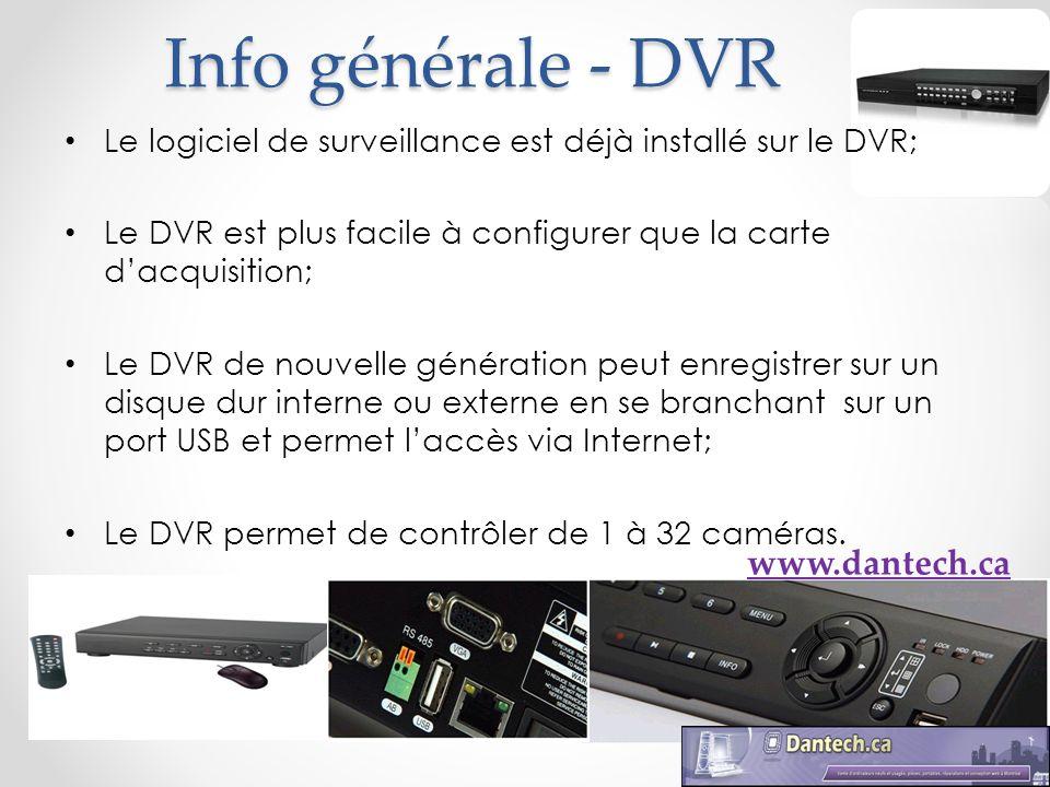 Caractéristiques du DVR Ports USB; Réseau interne; Port VGA et BNC; Enregistrement audio; Télécommande à distance; Souris optique; Accès avec cellulaire (Iphone, Blackberry, Nokia, Windows Mobile); Supporte les disques durs sata (160Go -1 To).