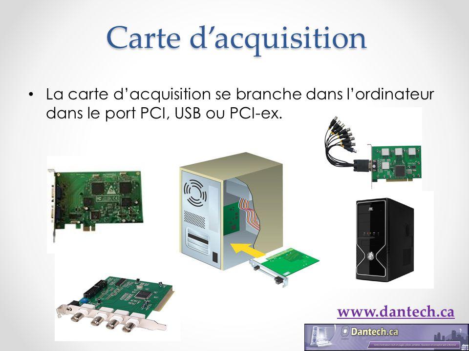 Carte dacquisition La carte dacquisition se branche dans lordinateur dans le port PCI, USB ou PCI-ex. www.dantech.ca