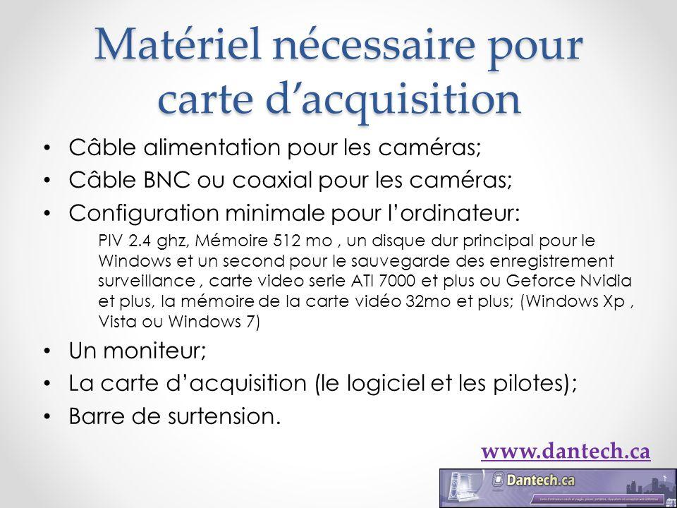 Matériel nécessaire pour carte dacquisition Câble alimentation pour les caméras; Câble BNC ou coaxial pour les caméras; Configuration minimale pour lo