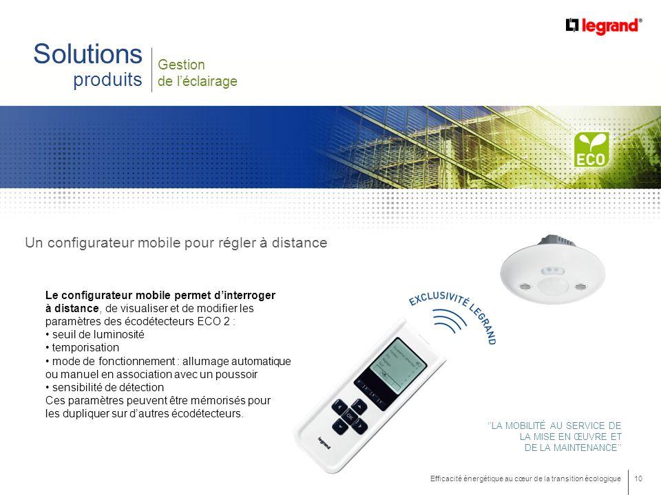 10 Efficacité énergétique au cœur de la transition écologique Gestion de léclairage Solutions produits Un configurateur mobile pour régler à distance