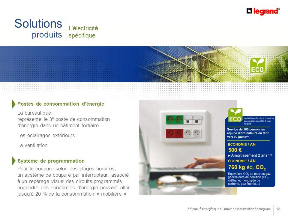 12 Efficacité énergétique au cœur de la transition écologique Lélectricité spécifique Solutions produits Postes de consommation dénergie La bureautiqu