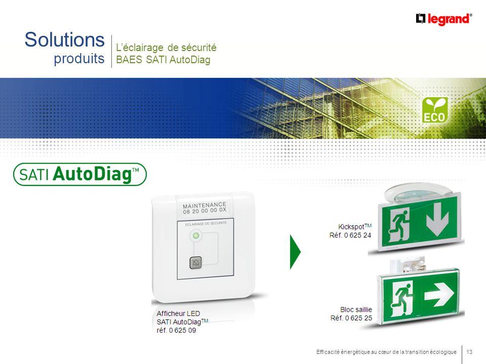 13 Efficacité énergétique au cœur de la transition écologique Léclairage de sécurité BAES SATI AutoDiag Solutions produits