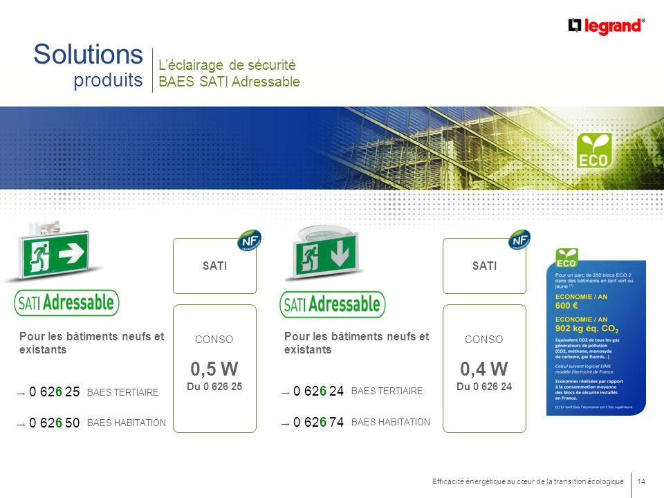 14 Efficacité énergétique au cœur de la transition écologique Léclairage de sécurité BAES SATI Adressable Solutions produits Pour les bâtiments neufs et existants 0 626 25 0 626 50 BAES TERTIAIRE BAES HABITATION SATI CONSO 0,5 W Du 0 626 25 Pour les bâtiments neufs et existants 0 626 24 0 626 74 BAES TERTIAIRE BAES HABITATION SATI CONSO 0,4 W Du 0 626 24