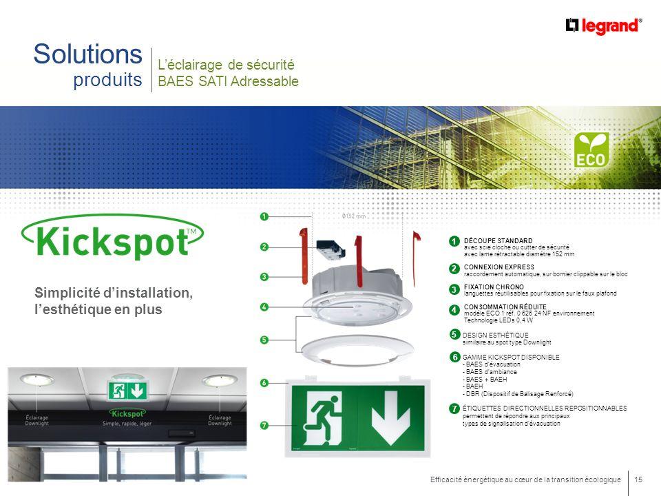 15 Efficacité énergétique au cœur de la transition écologique Solutions produits Simplicité dinstallation, lesthétique en plus DÉCOUPE STANDARD avec s
