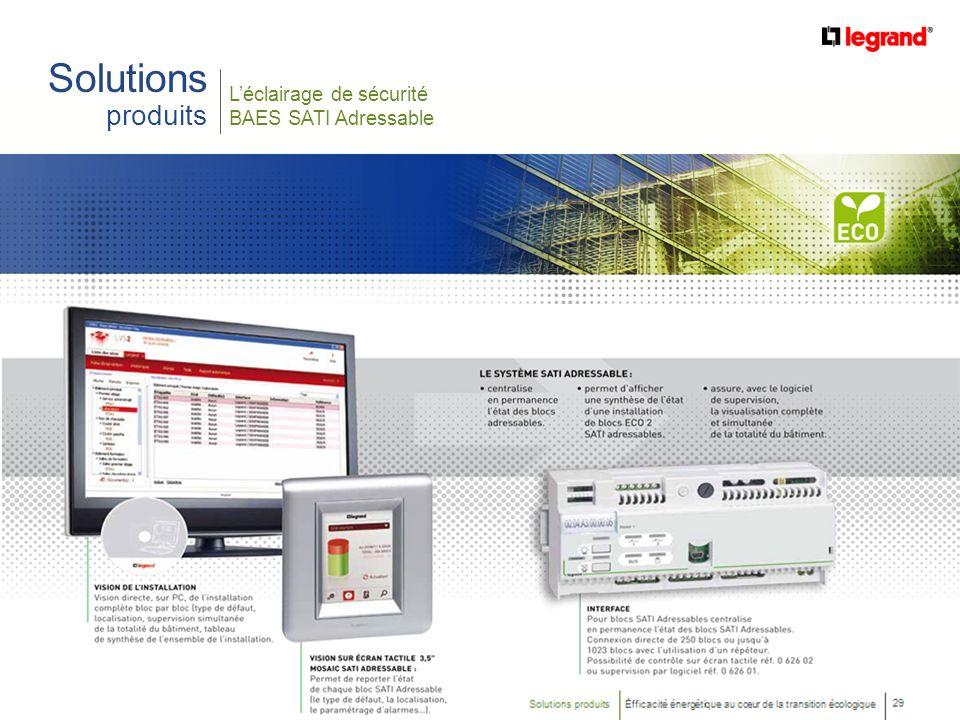 16 Efficacité énergétique au cœur de la transition écologique Léclairage de sécurité BAES SATI Adressable Solutions produits