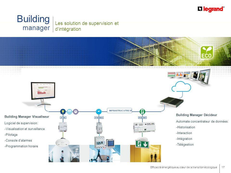 17 Efficacité énergétique au cœur de la transition écologique Building manager Les solution de supervision et dintégration Building Manager Visualiseu