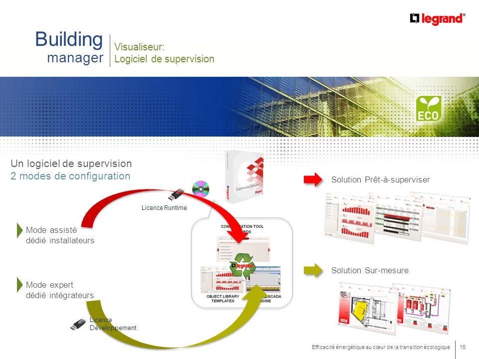 18 Efficacité énergétique au cœur de la transition écologique Building manager Visualiseur: Logiciel de supervision Licence Runtime Un logiciel de sup