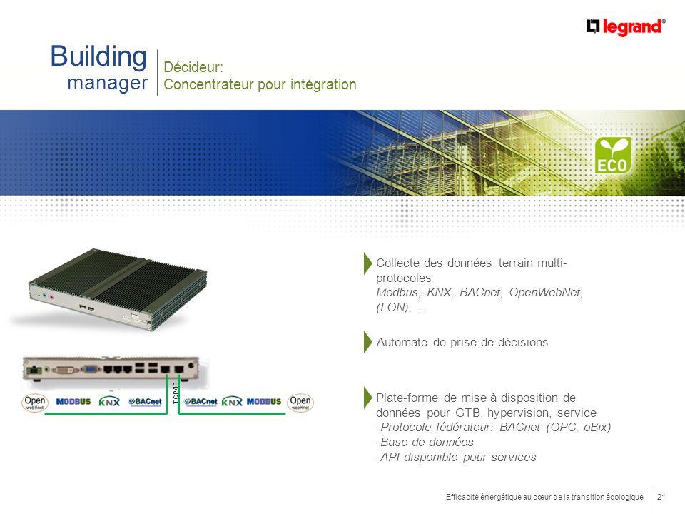 21 Efficacité énergétique au cœur de la transition écologique Building manager Décideur: Concentrateur pour intégration TCP/IP Collecte des données terrain multi- protocoles Modbus, KNX, BACnet, OpenWebNet, (LON), … Plate-forme de mise à disposition de données pour GTB, hypervision, service -Protocole fédérateur: BACnet (OPC, oBix) -Base de données -API disponible pour services Automate de prise de décisions