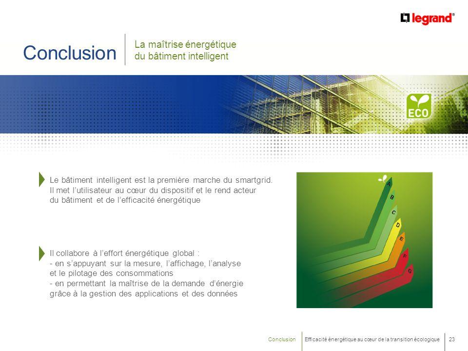 23 Efficacité énergétique au cœur de la transition écologique Conclusion Il collabore à leffort énergétique global : - en sappuyant sur la mesure, laf