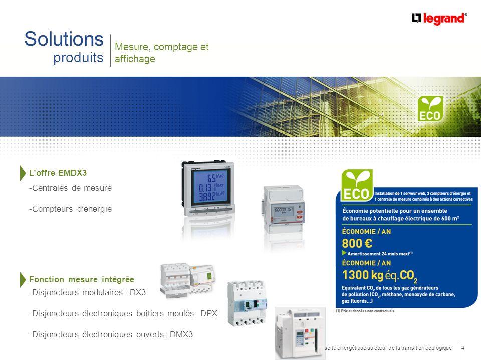 4 Efficacité énergétique au cœur de la transition écologique Mesure, comptage et affichage Solutions produits Loffre EMDX3 -Centrales de mesure -Compteurs dénergie Fonction mesure intégrée -Disjoncteurs modulaires: DX3 -Disjoncteurs électroniques boîtiers moulés: DPX3 -Disjoncteurs électroniques ouverts: DMX3