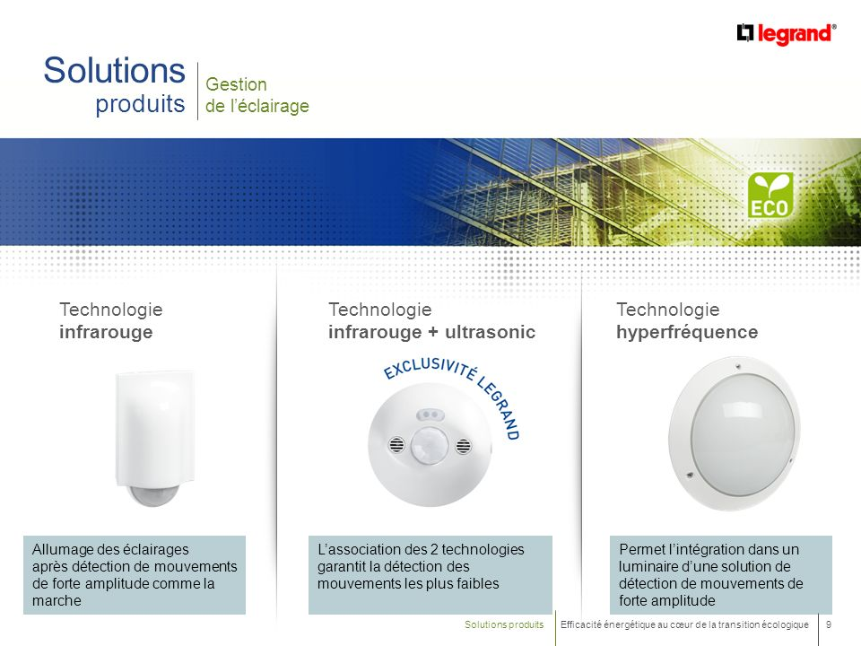 9 Efficacité énergétique au cœur de la transition écologique Gestion de léclairage Solutions produits Technologie infrarouge Allumage des éclairages a