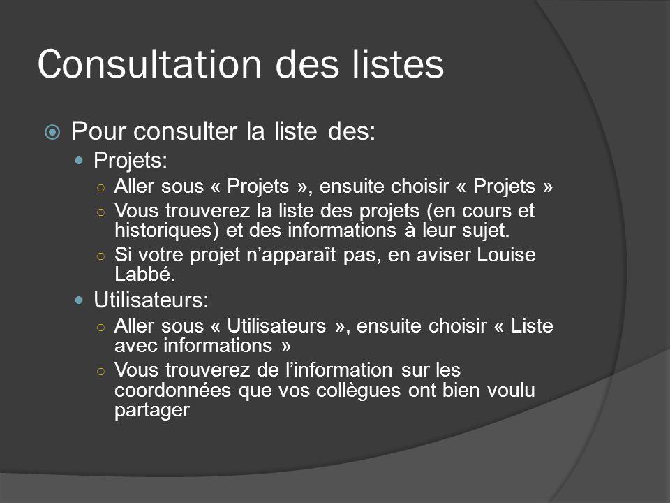 Consultation des listes Pour consulter la liste des: Projets: Aller sous « Projets », ensuite choisir « Projets » Vous trouverez la liste des projets (en cours et historiques) et des informations à leur sujet.