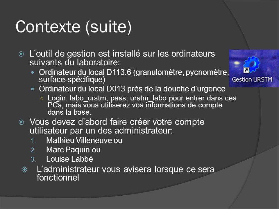 Contexte (suite) Loutil de gestion est installé sur les ordinateurs suivants du laboratoire: Ordinateur du local D113.6 (granulomètre, pycnomètre, surface-spécifique) Ordinateur du local D013 près de la douche durgence Login: labo_urstm, pass: urstm_labo pour entrer dans ces PCs, mais vous utiliserez vos informations de compte dans la base.