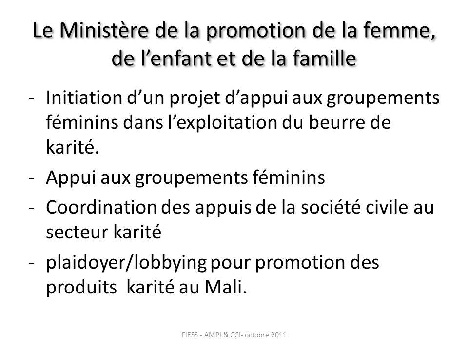 Le Ministère de la promotion de la femme, de lenfant et de la famille -Initiation dun projet dappui aux groupements féminins dans lexploitation du beurre de karité.