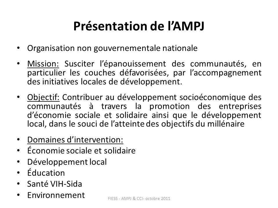 Présentation de lAMPJ Organisation non gouvernementale nationale Mission: Susciter lépanouissement des communautés, en particulier les couches défavorisées, par laccompagnement des initiatives locales de développement.