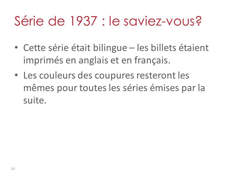 Série de 1937 : le saviez-vous.