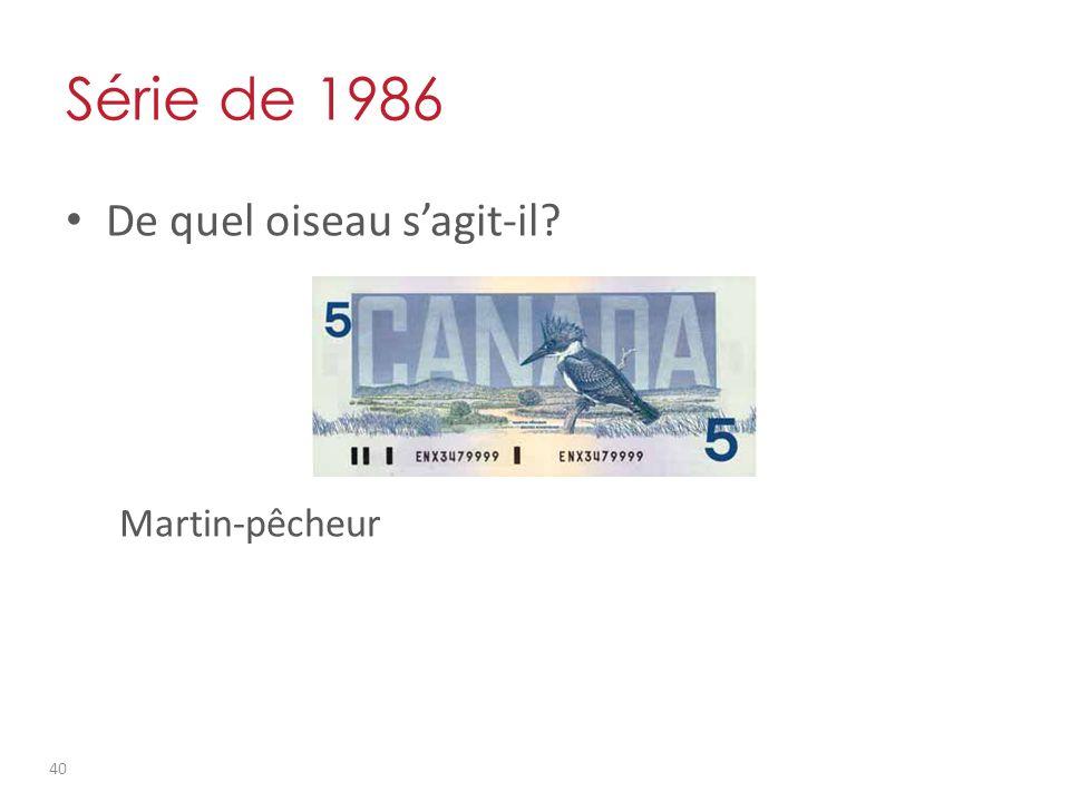 Série de 1986 De quel oiseau sagit-il Martin-pêcheur 40
