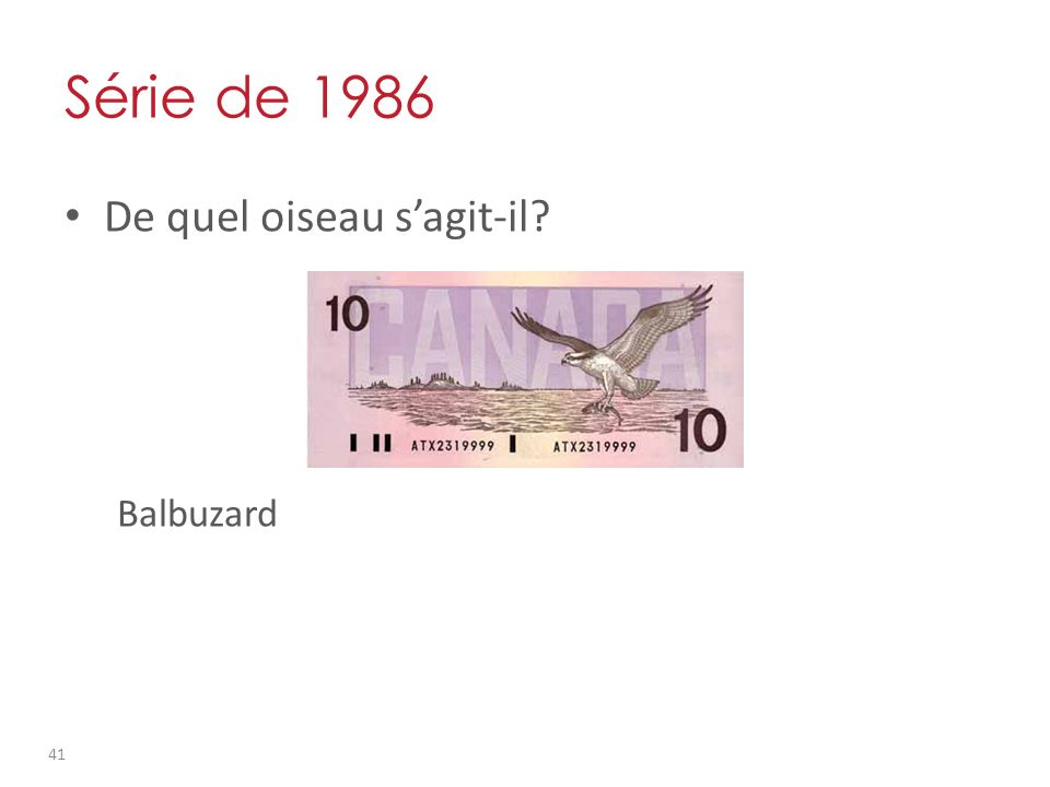 Série de 1986 De quel oiseau sagit-il Balbuzard 41