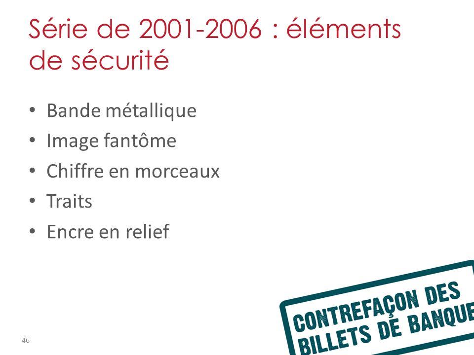 Série de 2001-2006 : éléments de sécurité Bande métallique Image fantôme Chiffre en morceaux Traits Encre en relief 46