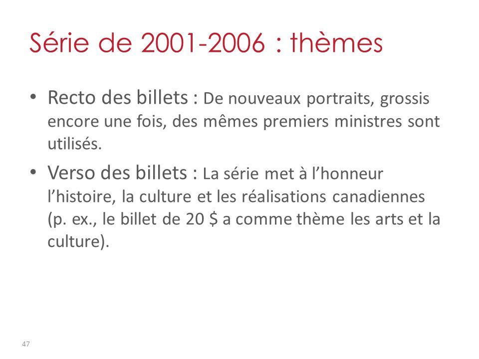 Série de 2001-2006 : thèmes Recto des billets : De nouveaux portraits, grossis encore une fois, des mêmes premiers ministres sont utilisés.