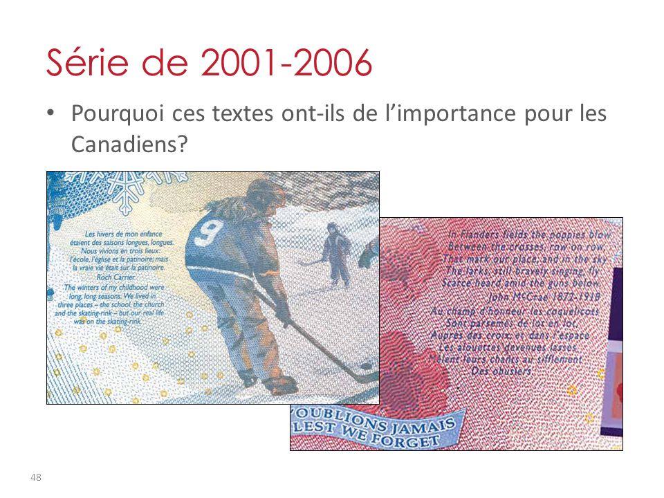 Pourquoi ces textes ont-ils de limportance pour les Canadiens? Série de 2001-2006 48