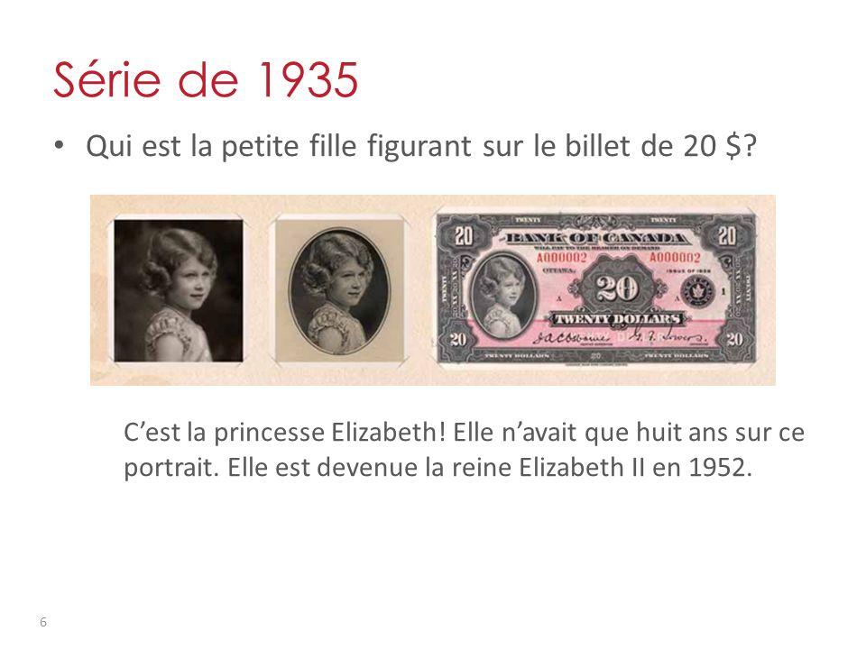 Série de 1935 Qui est la petite fille figurant sur le billet de 20 $.