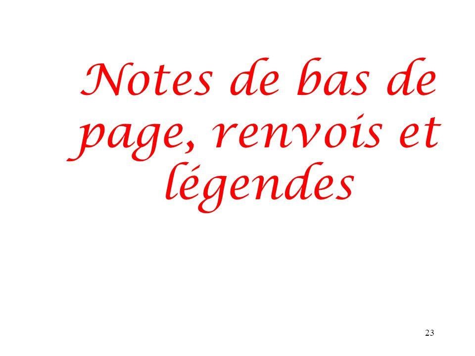Notes de bas de page, renvois et légendes 23