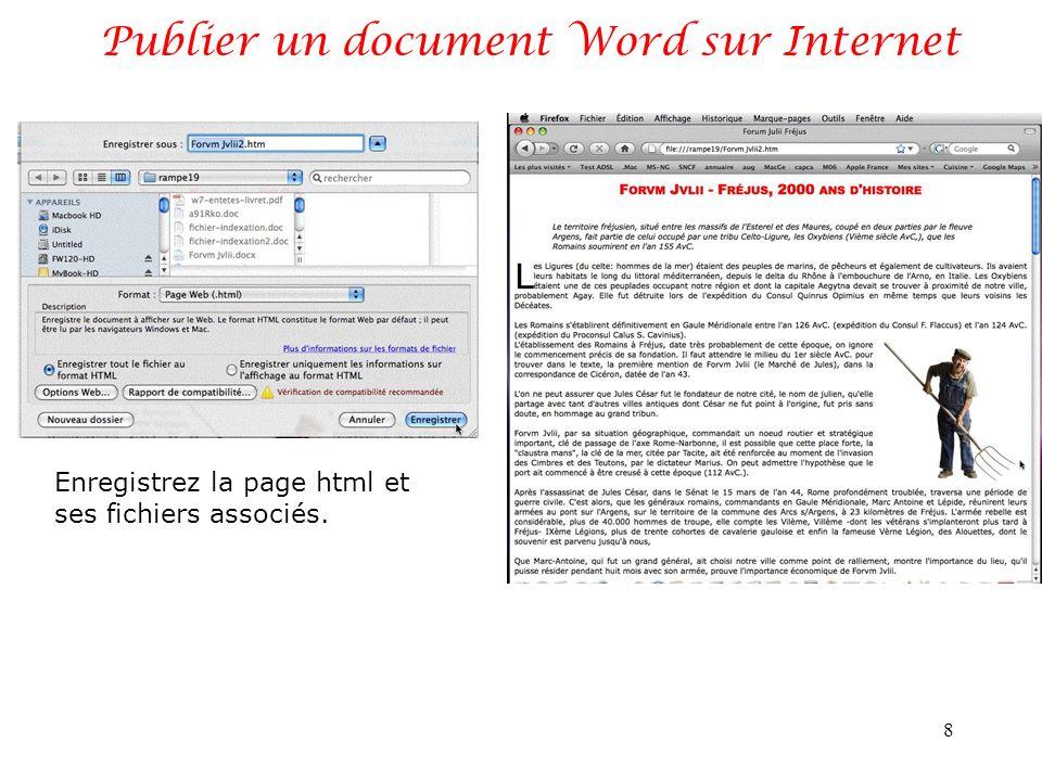 Publier un document Word sur Internet 9 Un exemple de fichiers générés.
