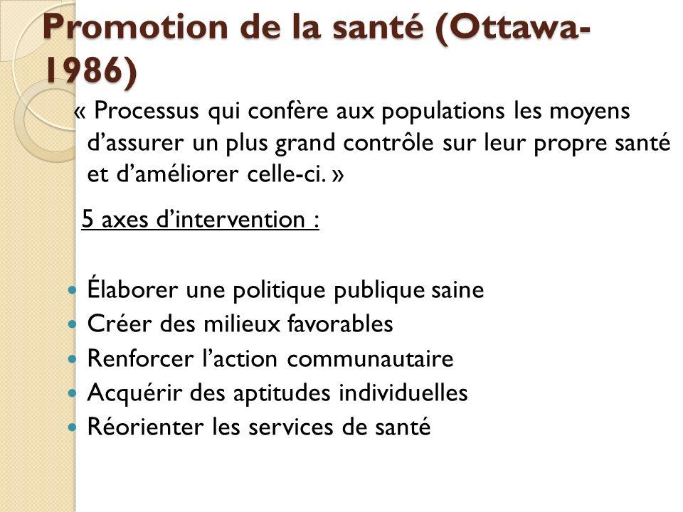 Promotion de la santé (Ottawa- 1986) « Processus qui confère aux populations les moyens dassurer un plus grand contrôle sur leur propre santé et daméliorer celle-ci.