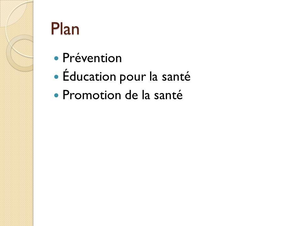 Plan Prévention Éducation pour la santé Promotion de la santé