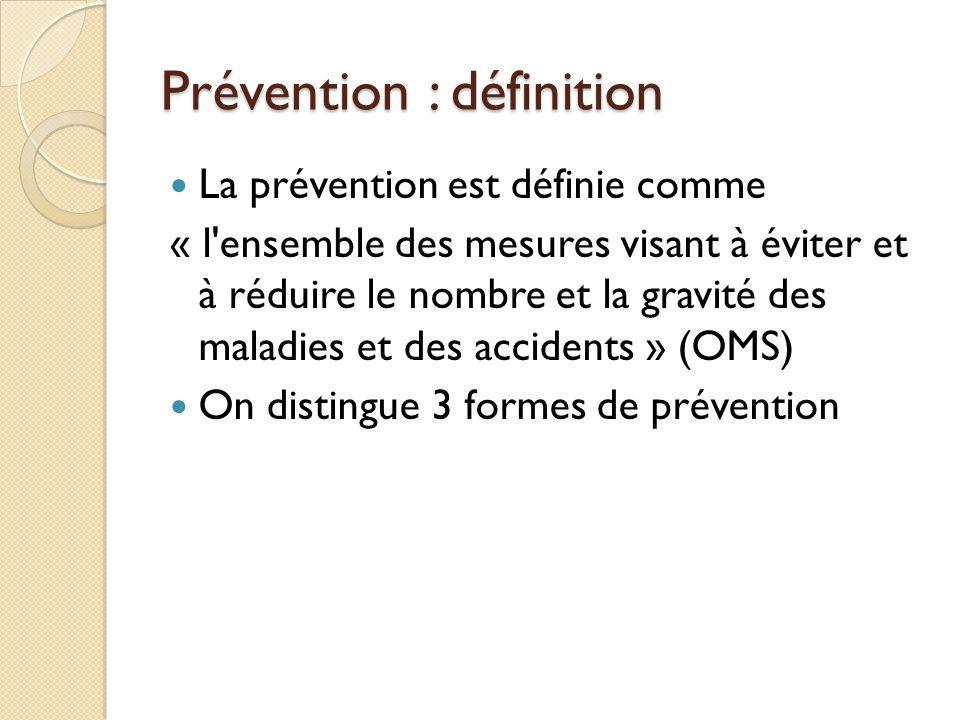 Prévention : définition La prévention est définie comme « l ensemble des mesures visant à éviter et à réduire le nombre et la gravité des maladies et des accidents » (OMS) On distingue 3 formes de prévention
