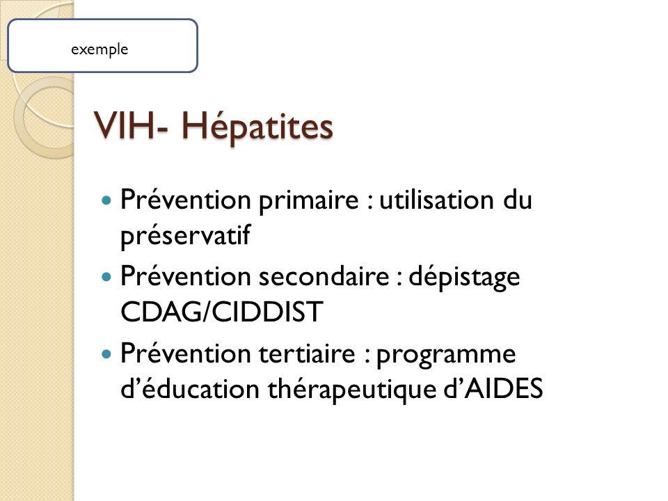 VIH- Hépatites Prévention primaire : utilisation du préservatif Prévention secondaire : dépistage CDAG/CIDDIST Prévention tertiaire : programme déducation thérapeutique dAIDES exemple