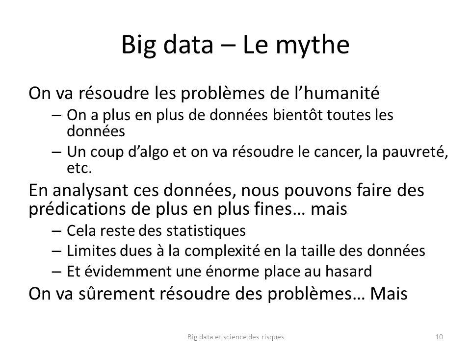 Big data – Le mythe On va résoudre les problèmes de lhumanité – On a plus en plus de données bientôt toutes les données – Un coup dalgo et on va résou