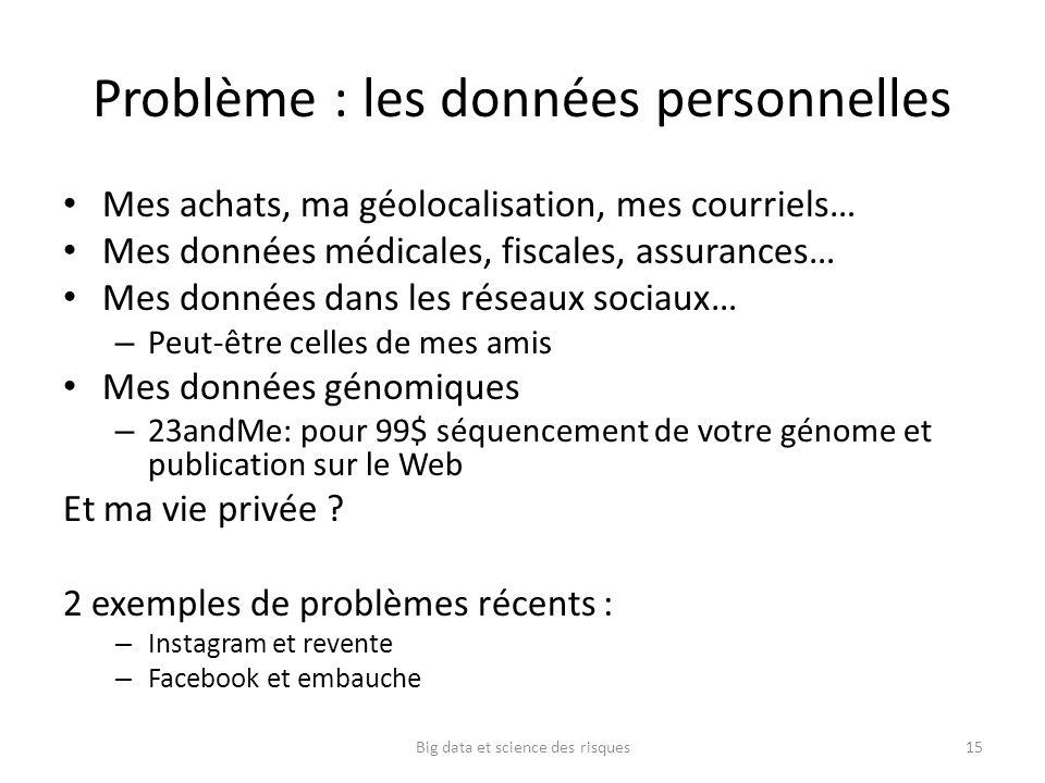 Problème : les données personnelles Mes achats, ma géolocalisation, mes courriels… Mes données médicales, fiscales, assurances… Mes données dans les r