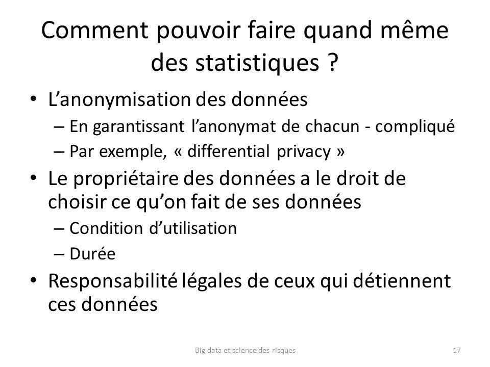 Comment pouvoir faire quand même des statistiques ? Lanonymisation des données – En garantissant lanonymat de chacun - compliqué – Par exemple, « diff