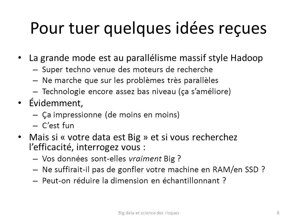 Pour tuer quelques idées reçues La grande mode est au parallélisme massif style Hadoop – Super techno venue des moteurs de recherche – Ne marche que s