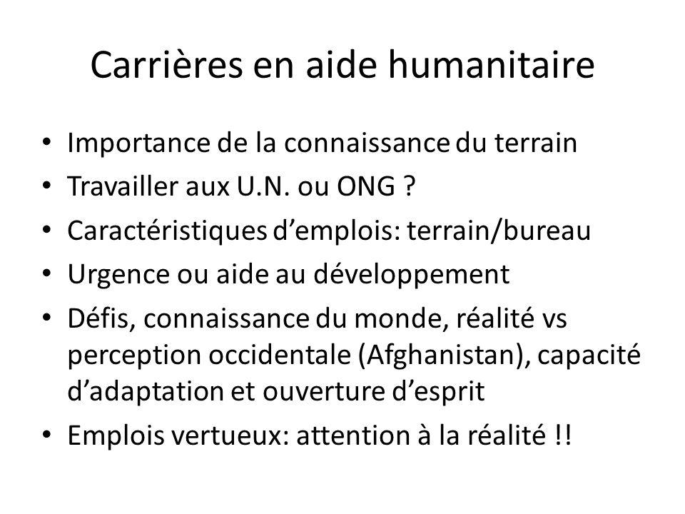 Carrières en aide humanitaire Importance de la connaissance du terrain Travailler aux U.N. ou ONG ? Caractéristiques demplois: terrain/bureau Urgence