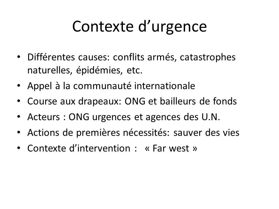 Contexte durgence Différentes causes: conflits armés, catastrophes naturelles, épidémies, etc.