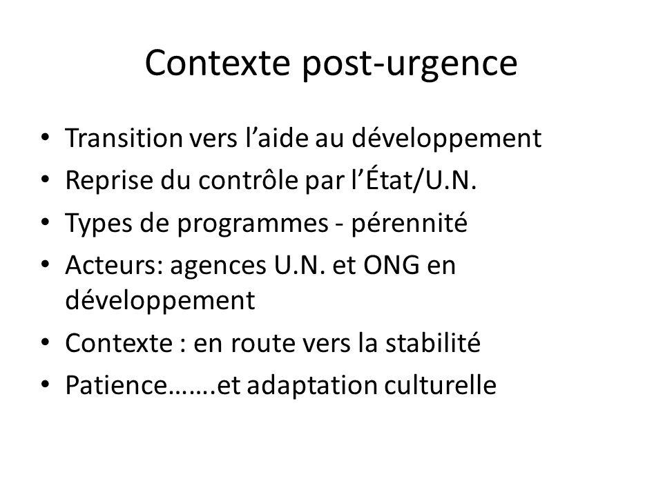 Contexte post-urgence Transition vers laide au développement Reprise du contrôle par lÉtat/U.N. Types de programmes - pérennité Acteurs: agences U.N.
