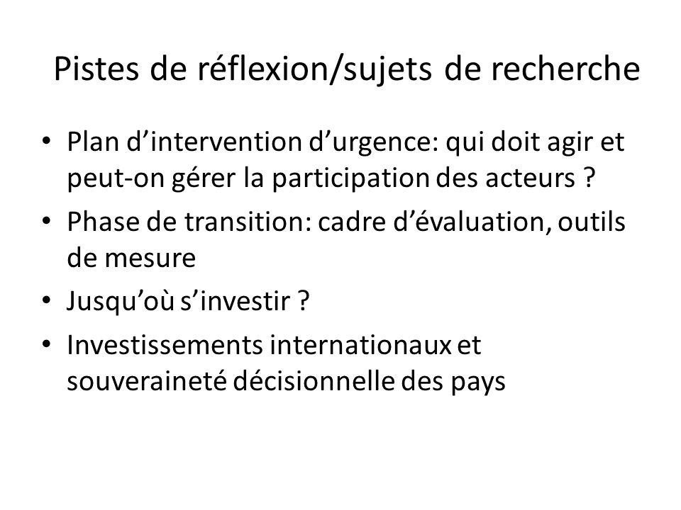 Pistes de réflexion/sujets de recherche Plan dintervention durgence: qui doit agir et peut-on gérer la participation des acteurs ? Phase de transition