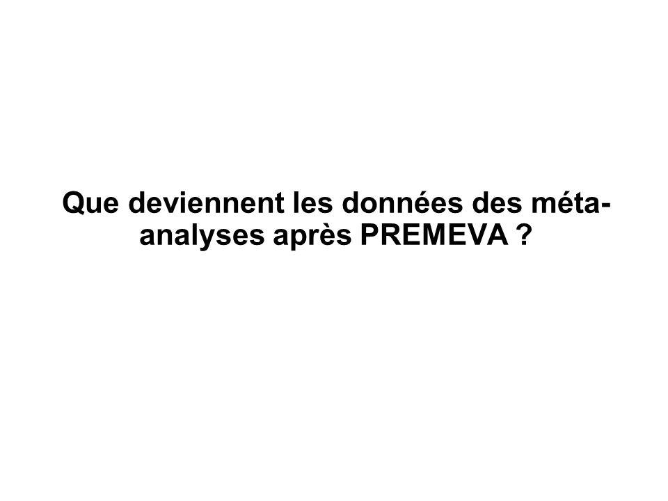 Que deviennent les données des méta- analyses après PREMEVA ?