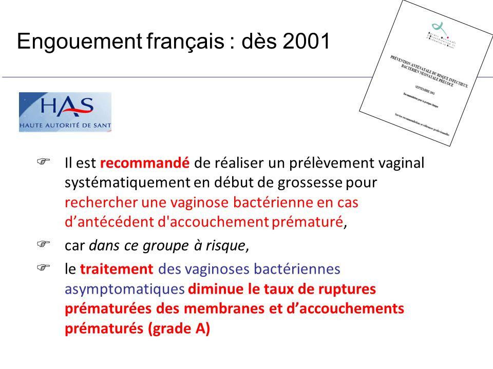 Engouement français : dès 2001 Il est recommandé de réaliser un prélèvement vaginal systématiquement en début de grossesse pour rechercher une vaginos