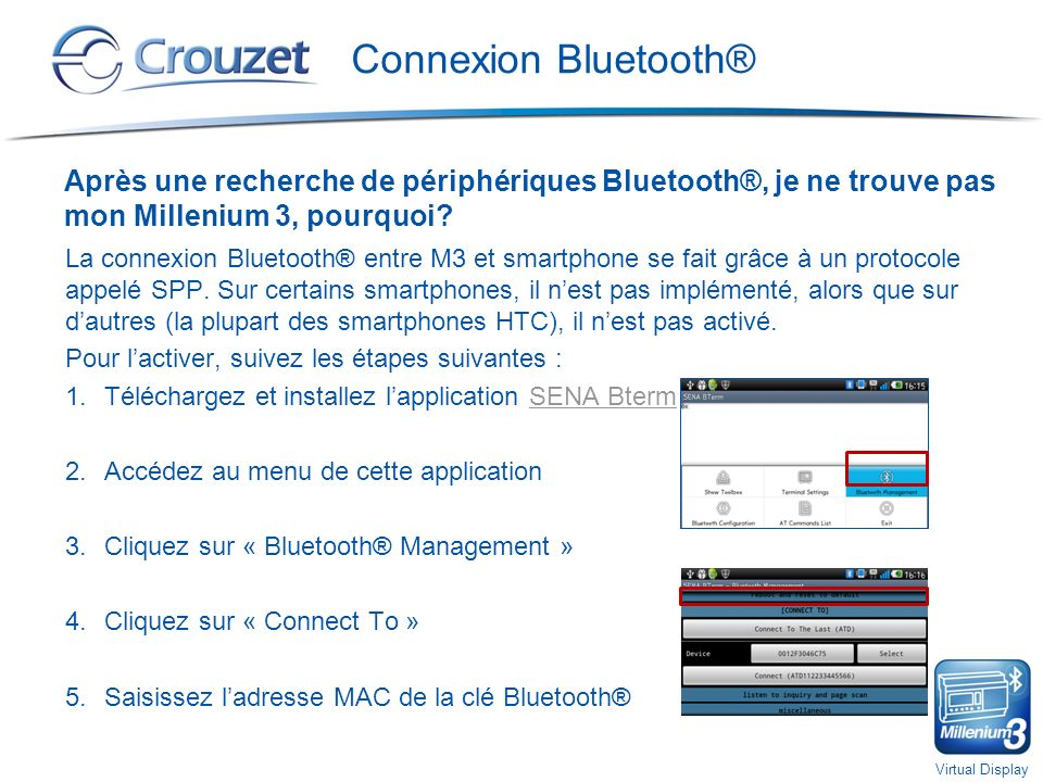 Virtual Display Sécurité Comment protéger laccès à mon Millenium 3 à partir du Millenium 3 Virtual Display.
