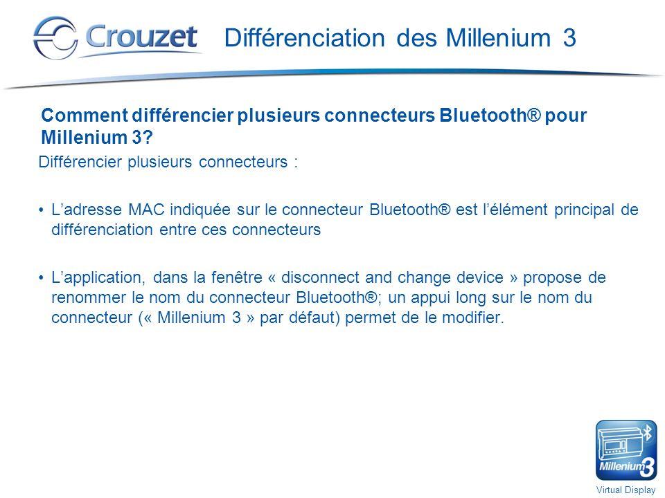 Virtual Display Différenciation des Millenium 3 Comment différencier plusieurs connecteurs Bluetooth® pour Millenium 3.