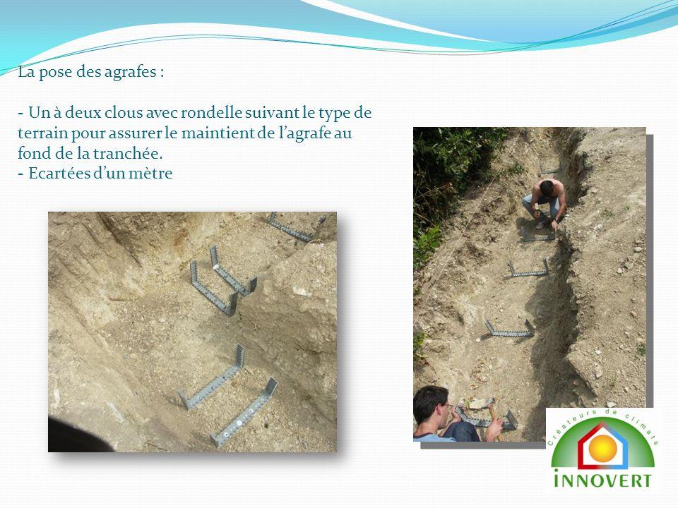 La pose des agrafes : - Un à deux clous avec rondelle suivant le type de terrain pour assurer le maintient de lagrafe au fond de la tranchée.