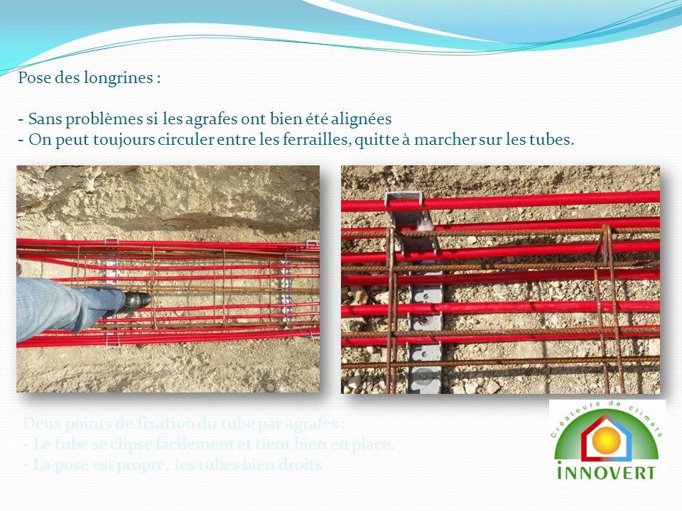 Pose des longrines : - Sans problèmes si les agrafes ont bien été alignées - On peut toujours circuler entre les ferrailles, quitte à marcher sur les tubes.