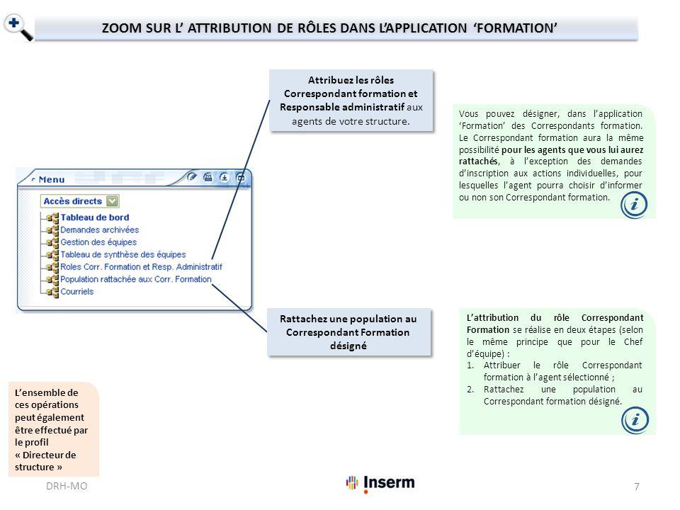 ZOOM SUR L ATTRIBUTION DE RÔLES DANS LAPPLICATION FORMATION Lattribution du rôle Correspondant Formation se réalise en deux étapes (selon le même prin
